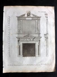 Langley 1777 Antique Architectural Print. Fireplace Cornice 89